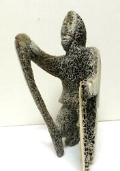 Vintage Inuit Eskimo Fossilized Bone Carved Sculpture By Raygee Piungituq-and039manand039
