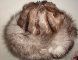 Vintage Silver Fox Fur Deluxe Hat Womenand039s Wide Brim Sz S/m Never Worn