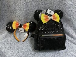 Loungefly Disney Parks Exclusive Candy Corn Halloween Mini Backpack And Ears Set