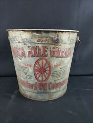 Vintage Standard Motor Oil Co Mica Axle Grease Tin Advertising Can Bucket Pail