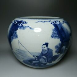 6.8and039and039 Chinese Antique Brush Wash Blue And White Porcelain Brush Wash Pottery