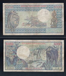 1980 Chad 1000 Mille Francs Buffalo Africa Bank Currency Banknote Money 157