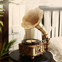 Rokr Diy Hand Crank Classic Gramophone Wooden Puzzle Model Building Kits Gifts
