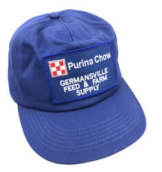 Vtg Purina Chow Germansville Feed Supply Patch Snap Back Hat Legend Usa Made N