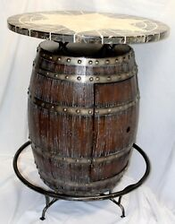 Barrel Pub Style Bar Table W/ Marble Top And Wine/liquor Cabinet
