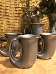 4 Set Wilton Armetale Pewter Horn Mugs Vintage Stamped Made In Usa