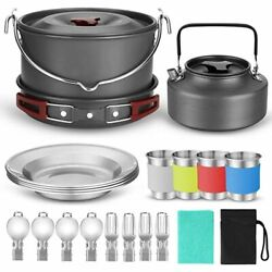 Outdoor Camping Cookware Set Hanging Pot Pan Kettle Dishes Forks Spoons Picnic