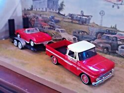 124 Scale Diecast 3 Pc.setred,'66 Chevy C-10 Pickup,'67 Corvette And Trailer