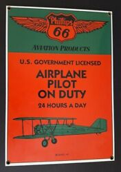 Vintage Ande Rooney Porcelain Sign Phillips 66 Aviation Products Airplane Pilot