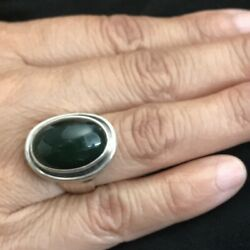 Georg Jensen Sterling Silver Jade Ring, No. 46a By Harald Nielsen
