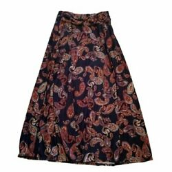 Robert Louis Women#x27;s Size Large Maxi Skirt Navy Blue Multicolor Paisley Belted $20.00