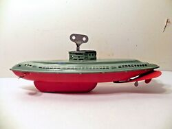 Vintage Tin Toy Submarine, Made In Usa By Wolverine