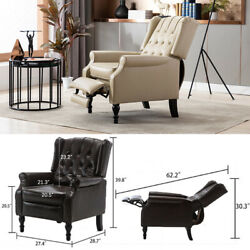 Leather Recliner Chair Manual Armchair Lounge Tufted Sofa Living Room Furniture