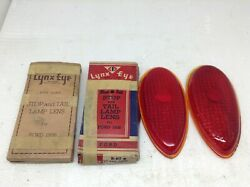 Lot Of 2 Vintage Lynx Eye 1938 Ford Stop Lamp Lens In Box Glass Nos