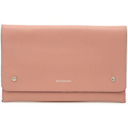 Burberry Clutch Handbags No Gussets Leather Rose Pink Silver Fittings 55201 $648.09