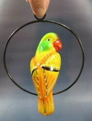 Mexican Folk Art Hanging Conure / Parrot Bird With Ring Perchandnbspceramic 8 Inches