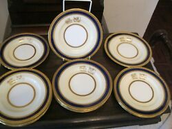 Minton Lion Crested 6.25 In Tea Plates . Cobalt Blue , Richly Glided . Mint Con