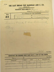 Train Order East Broad Top Railroad And Coal Company Form 31 May 2, 1951