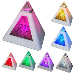 LED Digital Alarm Clock Thermometer Color Changing Light Night Battery Operated