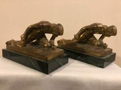 Jennings Brothers Ormulu Gold Male Figures On Knees Hammer Marble Base Bookends