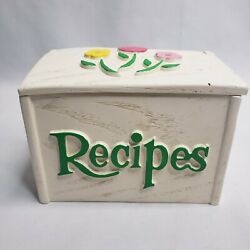 Vintage Floral Flower Recipe Box With Recipes Clippings Floral Hard Plastic Box