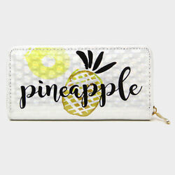 NEW Holographic Tropical Pineapple Fruit Zippered Clutch Wallet Phone Case $12.95