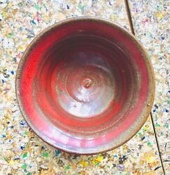 Signed Bowl Drip Glaze Stoneware Pottery Red Orange Brown Clay Vintage Mcm 60s