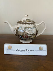 Johnson Brothers Friendly Village Sugar Maples Teapot England Stamp