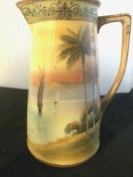 Green Mark Nippon Handpainted Scenic Sailboats Ocean Landscape Coffee Pitcher
