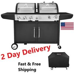 Royal Gourmet Bbq Gas 3-burner Liquid Propane Gas And Charcoal Grill With Cabinet