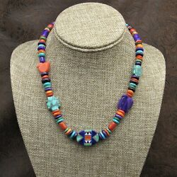Stunning Sterling Silver Multi Stone Inlay Necklace By Aldrich