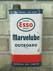 1960s Esso Marvelube Outboard Oil Can Quart Imperial Oil Limited Canada