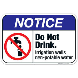 Do Not Drink. Irrigation Wells Non-potable Water Sign Ansi Notice Sign
