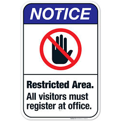 Restricted Area All Visitors Must Register At Office Sign, Ansi Notice Sign,