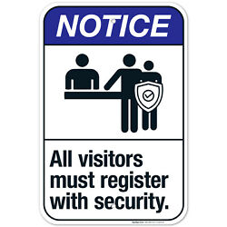All Visitors Must Register With Security Sign, Ansi Notice Sign,