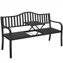 Outdoor Patio Garden Bench Chair With Pullout Adjustable Middle Table Park Yard