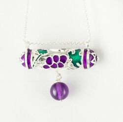 Mezuzah Pendant Grapes With Amethyst Jewish Necklace Hebrew Shemah Scroll