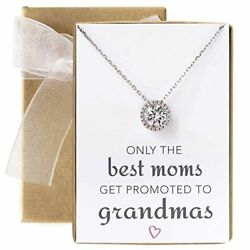 Gift For Mom Grandma - 925 Sterling Silver Solitaire Halo Necklace In Silver