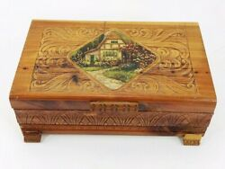 Vintage Wood Jewelry Trinket Box Chest Litho Cottage Scene Carved Hinged Wooden