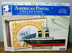 Schylling American Postal Collection Tin Toy And Case St. Paul Ocean Liner