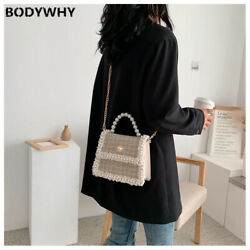2020 Small Square Bag Womenand039s New Korean Fashion Solid Color Pearl Hand Chain