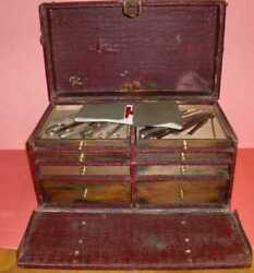 Russian Vietnam War Era First Aid Medical Kit Leather Box Case And Tools.
