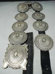 Signed Heavy Vintage Navajo Hand Tooled Sterling Silver Detailed Concho Belt