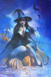 Original Halloween Witch Pin Up Illustration Female Woman Pinup Art Painting