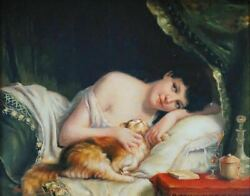 Original Vintage Antique Painting Lovely Young Girl Female Woman With Tabby Cat