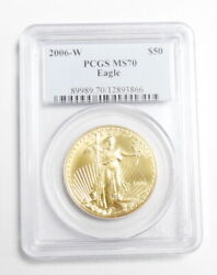 2006 W Us Mint 50 1oz Gold American Eagle Bullion Coin Pcgs Certified Ms70