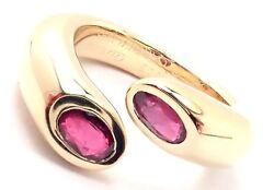 Authentic 18k Yellow Gold Ruby Ellipse Deux Tetes Croisees Bypass Ring