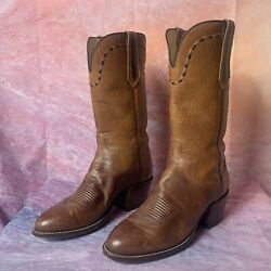 Paul Bond Vintage Full Quill Ostrich Cowboy Boots Womens 7 Brown