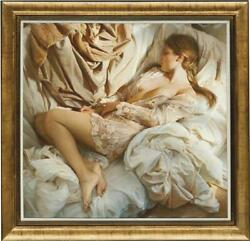 Hand Painted Original Oil Painting Art Portrait Bed Nude Girl On Canvas 36x36