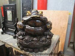 Huge China Copper Bronze Fengshui Attract Wealth Coin Spittor Gold Toad Statue